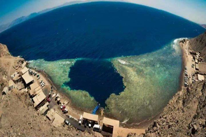 Overhead view of the The Blue Hole and The Bells diving sites in Dahab.