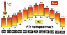 Egypt Average Monthly Air Temperatures and Hours of Sunshine